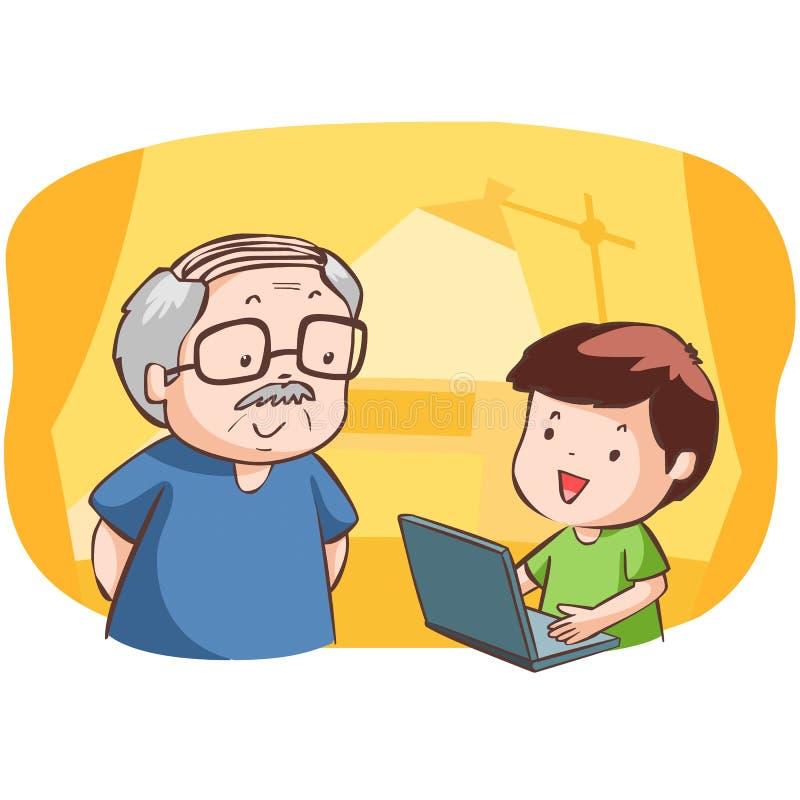 Ο ανηψιός παρουσιάζει grandad πώς να χρησιμοποιήσει τον υπολογιστή διανυσματική απεικόνιση