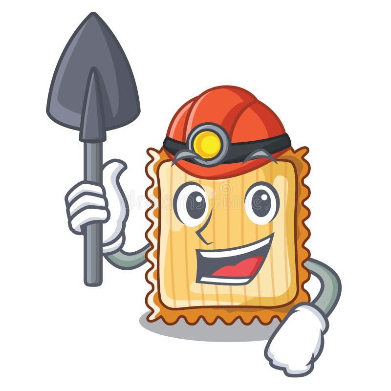 Ο ανθρακωρύχος lasagne είναι μαγειρευμένος στο φούρνο μασκότ απεικόνιση αποθεμάτων