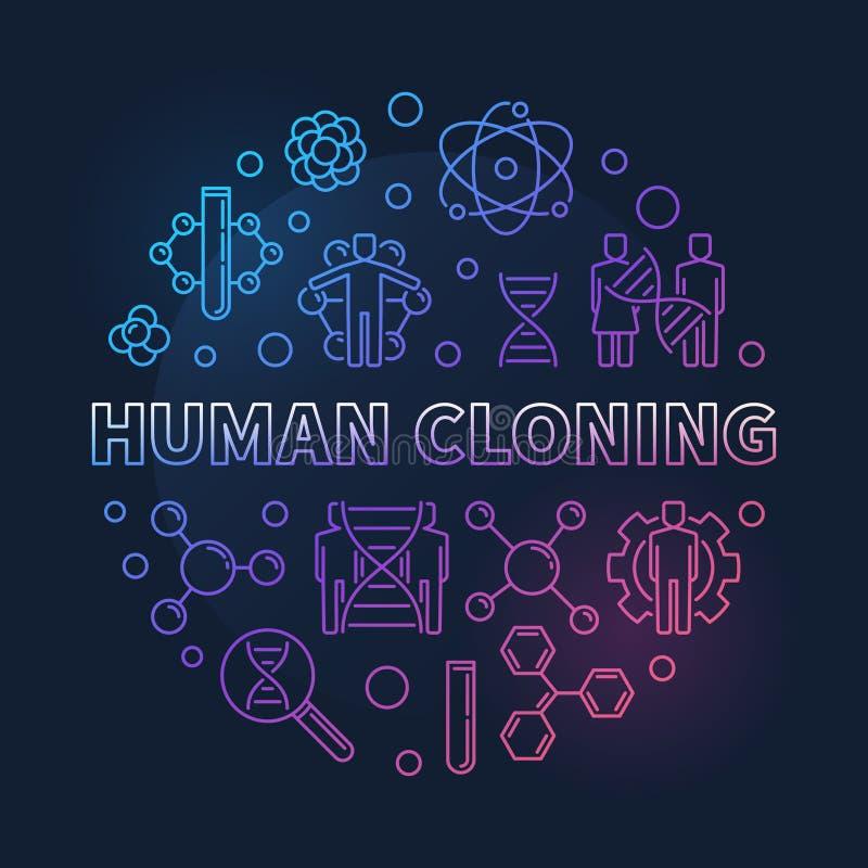 Ο ανθρώπινος διανυσματικός κύκλος κλωνοποίησης χρωμάτισε την απεικόνιση περιλήψεων απεικόνιση αποθεμάτων