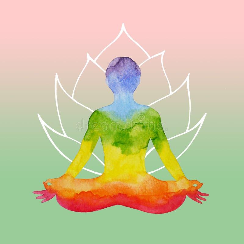 ο ανθρώπινος λωτός chakra 7 θέτει τη γιόγκα, αφηρημένος κόσμος, κόσμος μέσα διανυσματική απεικόνιση