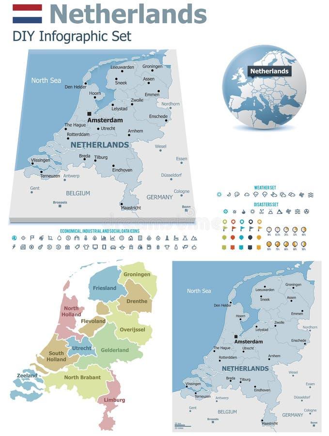 Ολλανδικοί χάρτες με τους δείκτες ελεύθερη απεικόνιση δικαιώματος