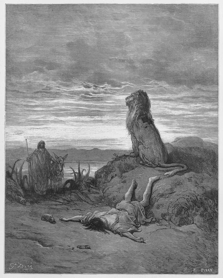 Ο απειθής προφήτης σκοτώνεται από ένα λιοντάρι στοκ φωτογραφία με δικαίωμα ελεύθερης χρήσης