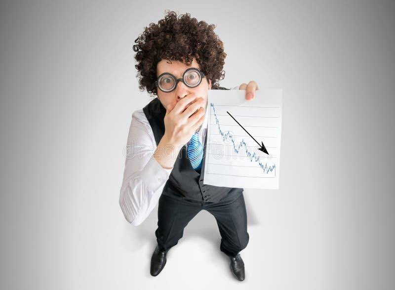 Ο απογοητευμένος λογιστής παρουσιάζει διάγραμμα της κακής προόδου επένδυσης και απώλειας στοκ φωτογραφία