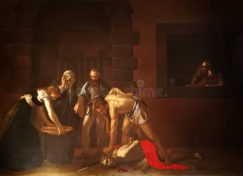 Ο αποκεφαλισμός Αγίου John ο βαπτιστικός από Caravaggio στοκ φωτογραφίες