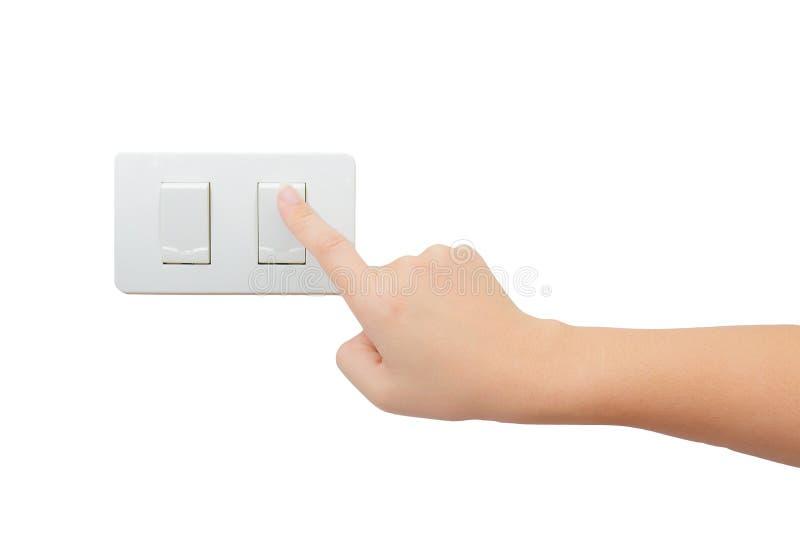 Ο απομονωμένος Τύπος χεριών ανοίγει/από τον ηλεκτρικό διακόπτη στοκ φωτογραφία με δικαίωμα ελεύθερης χρήσης