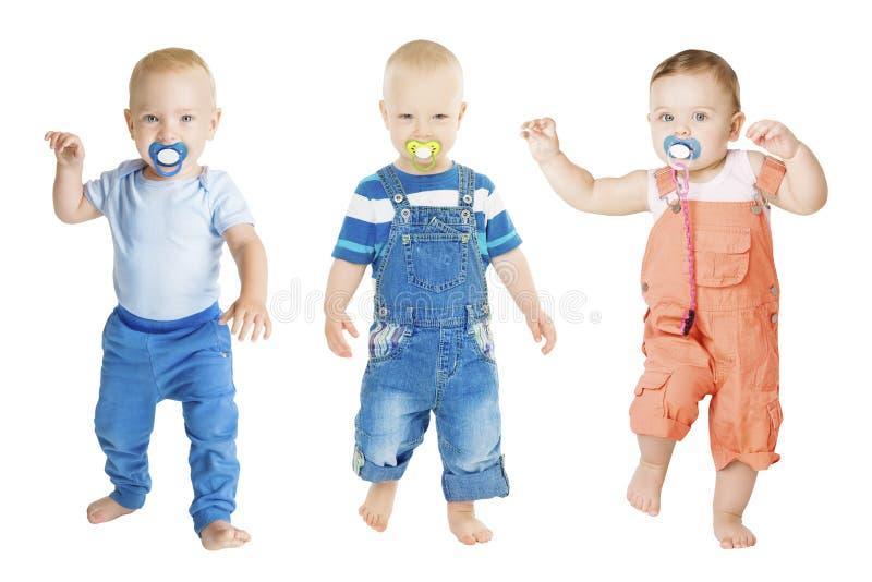 Ο απορροφώντας ειρηνιστής μωρών, ομάδα παιδιών νηπίων απορροφά το ομοίωμα Soother στοκ εικόνα