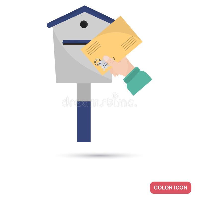 Ο αποστολέας κρατά μια επιστολή στο επίπεδο εικονίδιο χρώματος ταχυδρομικών θυρίδων ελεύθερη απεικόνιση δικαιώματος