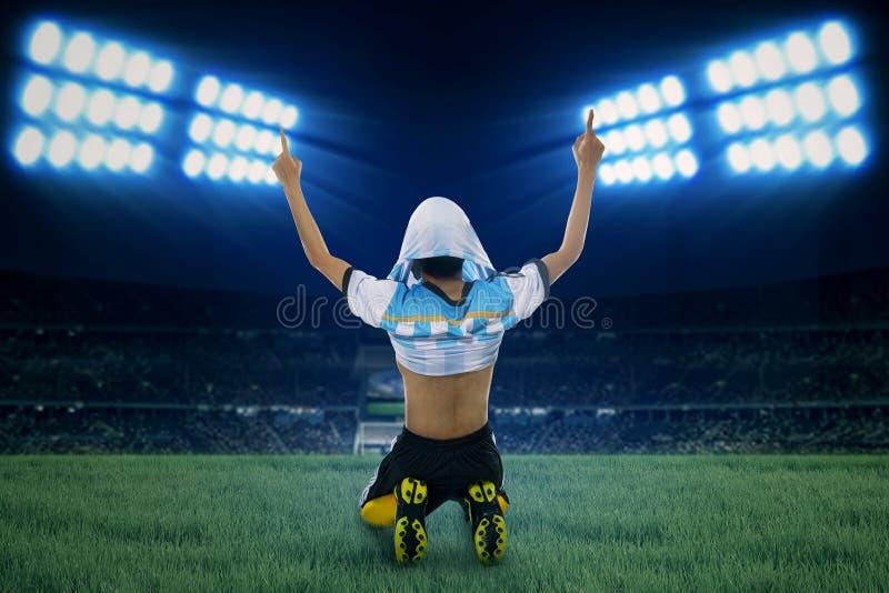 Ο αργεντινός φορέας γιορτάζει τη νίκη 1 στοκ φωτογραφία με δικαίωμα ελεύθερης χρήσης