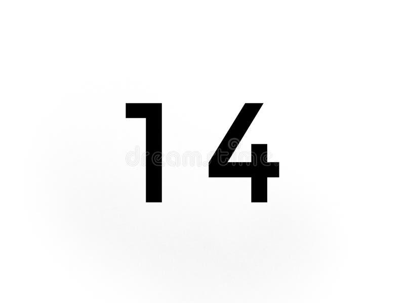 Ο αριθμός δεκατέσσερα στα μαύρα μαθηματικά χρώματος μαθαίνει το σχολείο απεικόνιση αποθεμάτων