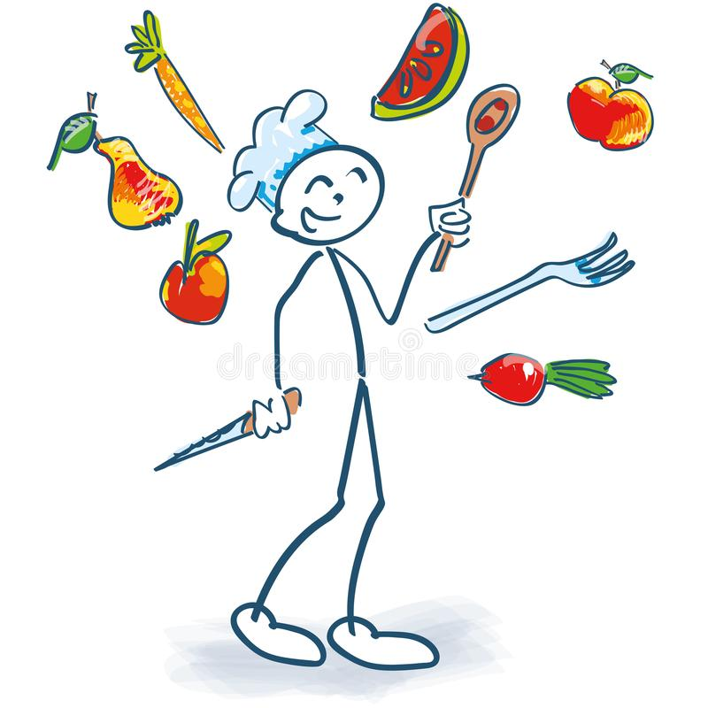 Ο αριθμός ραβδιών ως μάγειρας κάνει ταχυδακτυλουργίες τα λαχανικά διανυσματική απεικόνιση