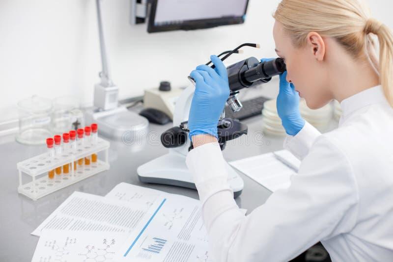 Ο αρκετά νέος επιστήμονας φαίνεται βακτηρίδια πιό κοντά στοκ εικόνα