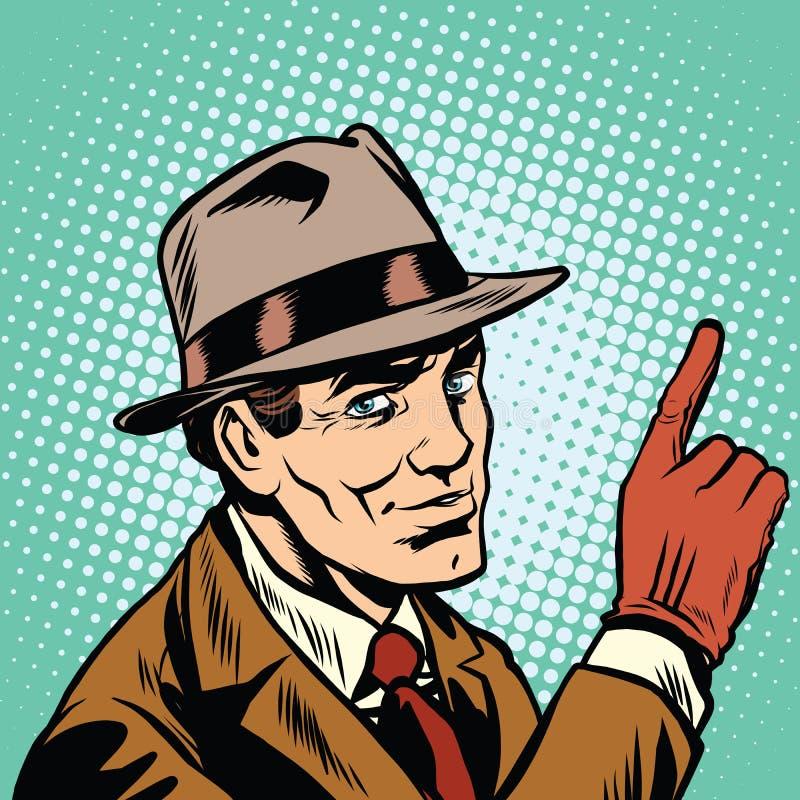 Ο αρσενικός κατάσκοπος δείχνει ένα δάχτυλο, αναδρομικό υπόβαθρο διανυσματική απεικόνιση