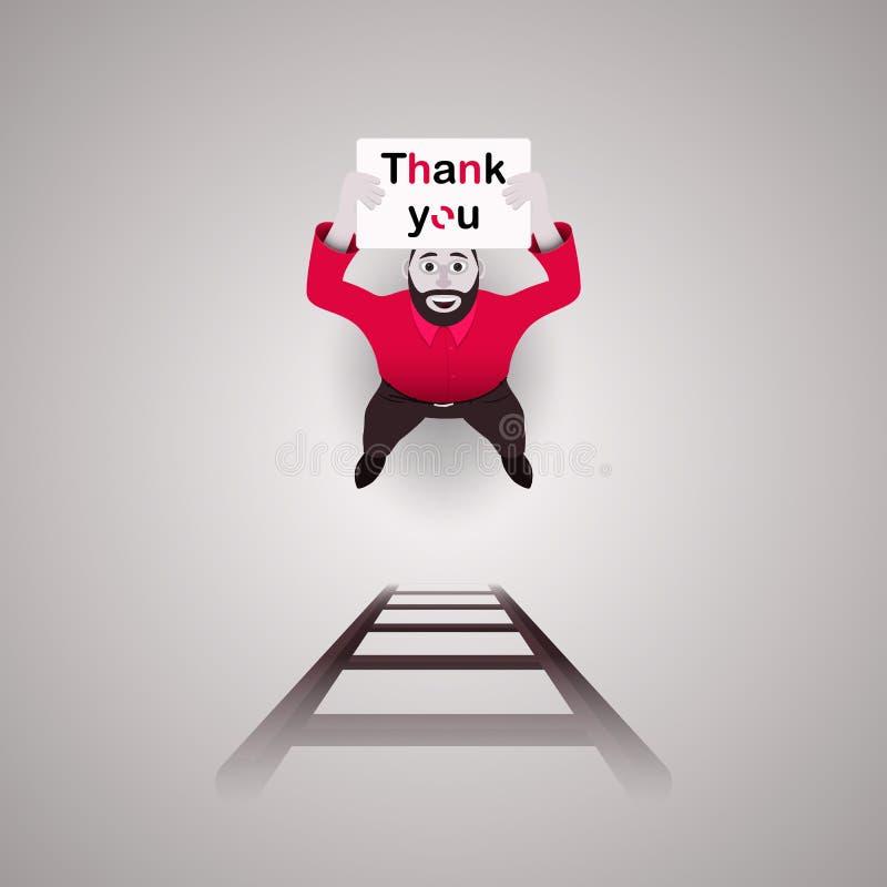 """Ο αρσενικός χαρακτήρας, ένα άτομο, κρατά μια αφίσα που λέει ότι """"σας ευχαριστήστε """"Για να τον βοηθήσουν κάτω από τα σκαλοπάτια επ απεικόνιση αποθεμάτων"""