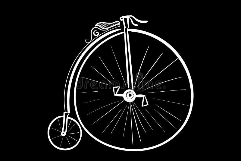 Ο αρχαίος λευκός Μαύρος σκίτσων ποδηλάτων απεικόνιση αποθεμάτων