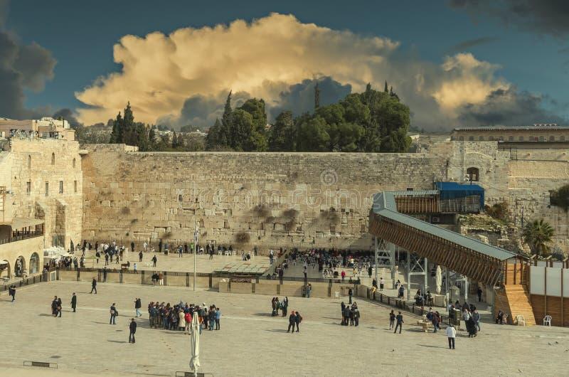 Ο αρχαίος δυτικός τοίχος του ναού τοποθετεί, Ιερουσαλήμ στοκ φωτογραφία με δικαίωμα ελεύθερης χρήσης