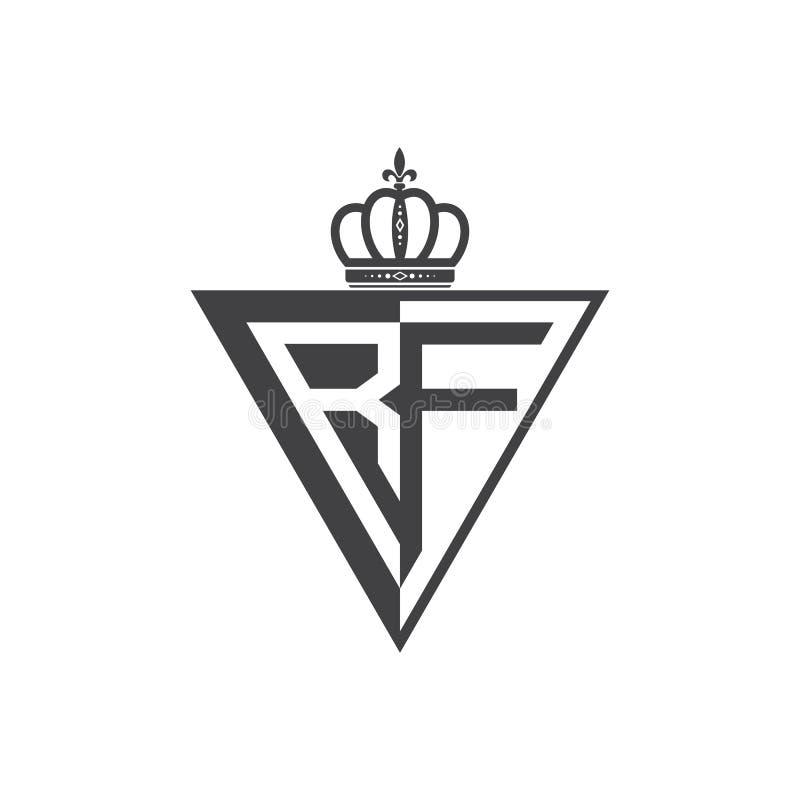 Ο αρχικός Μαύρος τριγώνων λογότυπων δύο γραμμάτων RF μισός απεικόνιση αποθεμάτων