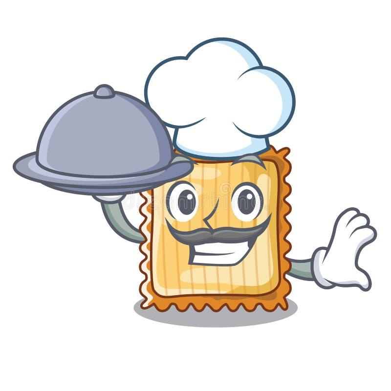 Ο αρχιμάγειρας με τα τρόφιμα lasagne είναι μαγειρευμένος στο φούρνο μασκότ ελεύθερη απεικόνιση δικαιώματος