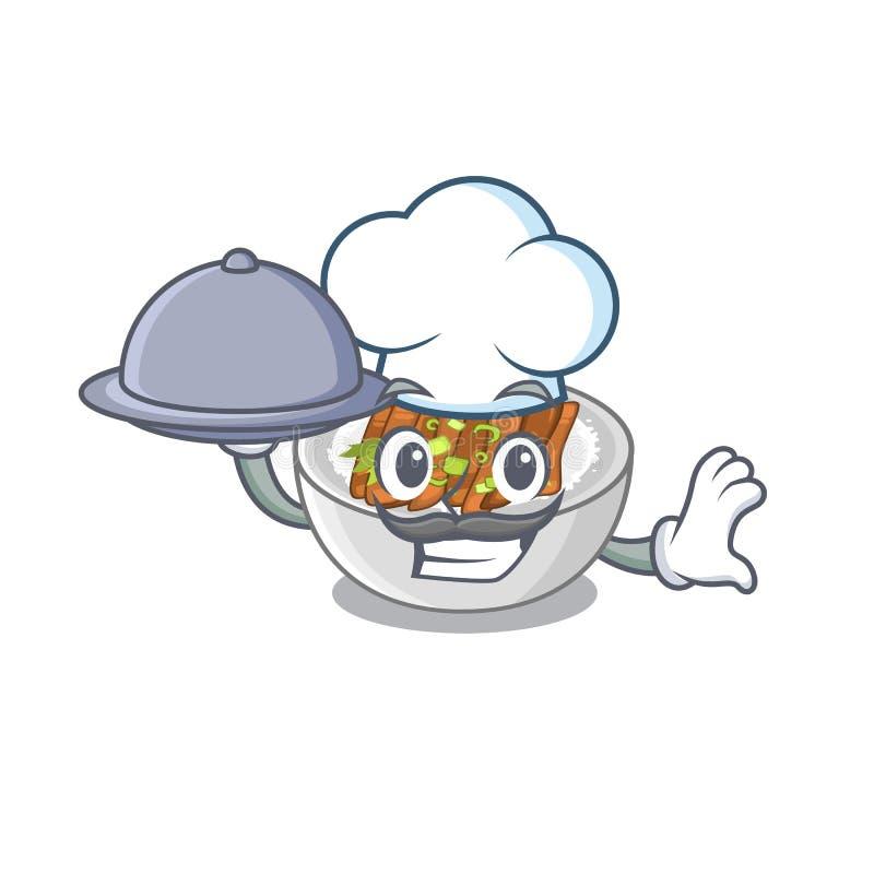 Ο αρχιμάγειρας με το donburi τροφίμων είναι μαγειρευμένος σε ένα skillet διανυσματική απεικόνιση