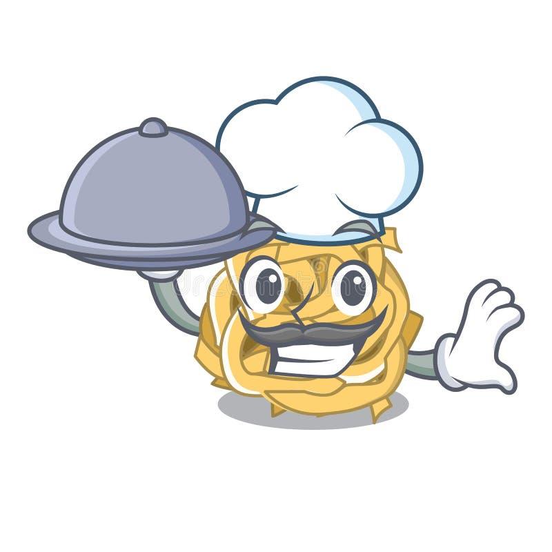 Ο αρχιμάγειρας με το fettuccine τροφίμων είναι μαγειρευμένος στο τηγάνι χαρακτήρα ελεύθερη απεικόνιση δικαιώματος
