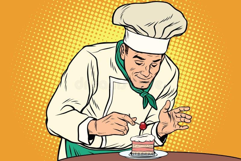 Ο αρχιμάγειρας προετοιμάζει ένα γλυκό επιδόρπιο διανυσματική απεικόνιση