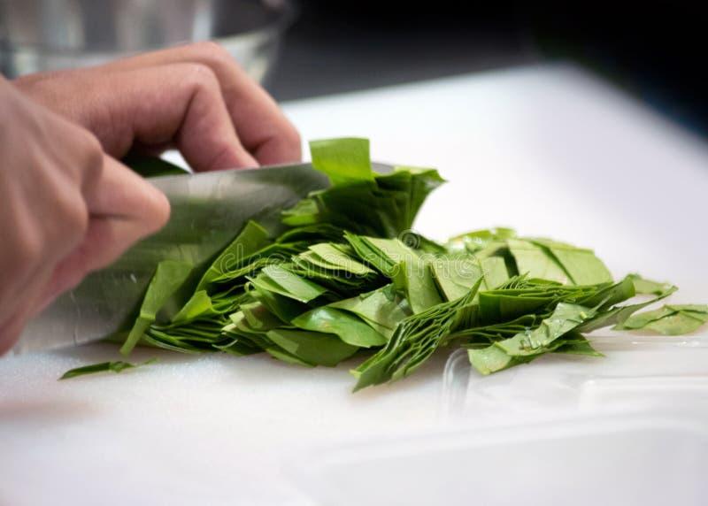 Ο αρχιμάγειρας τεμαχίζει το φρέσκο λαχανικό, κινηματογράφηση σε πρώτο πλάνο των χεριών με το μαχαίρι που κόβει το φρέσκο οργανικό στοκ εικόνες
