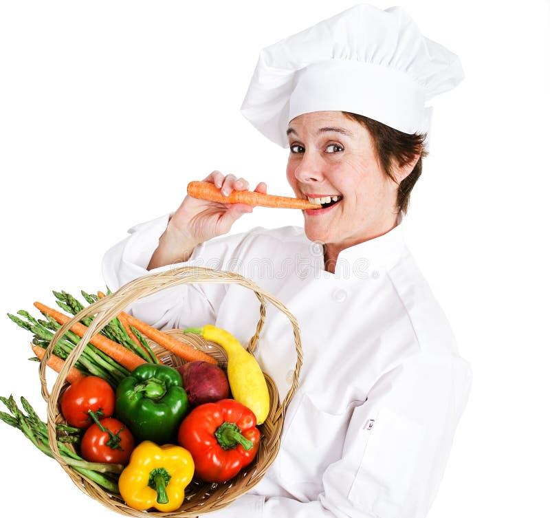Ο αρχιμάγειρας τρώει υγιή στοκ φωτογραφία με δικαίωμα ελεύθερης χρήσης