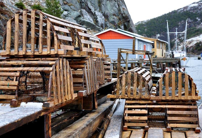 ο αστακός παγιδεύει ξύλι& στοκ φωτογραφίες