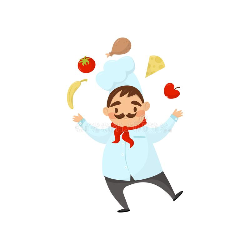 Ο αστείος αρχιμάγειρας με το mustache κάνει ταχυδακτυλουργίες με τα τρόφιμα Άτομο σε ομοιόμορφο με το καπέλο και το κόκκινο μαντί διανυσματική απεικόνιση