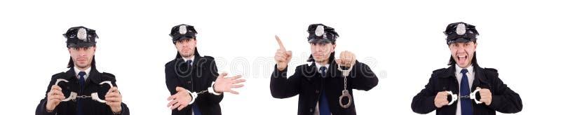 Ο αστείος αστυνομικός που απομονώνεται στο λευκό στοκ φωτογραφίες