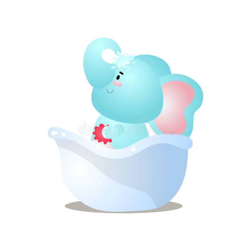 Ο αστείος μπλε ελέφαντας παιδιών είναι παίρνει ένα ντους στην μπανιέρα απεικόνιση αποθεμάτων