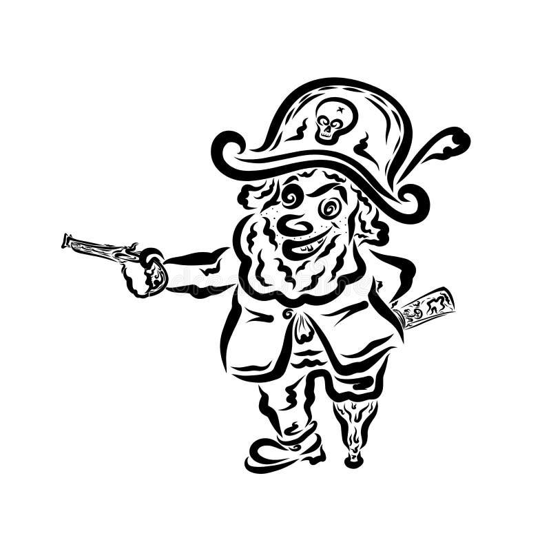 Ο αστείος πειρατής με ένα πυροβόλο όπλο στο χέρι του, κρύβει το χάρτη πίσω από την πλάτη του διανυσματική απεικόνιση