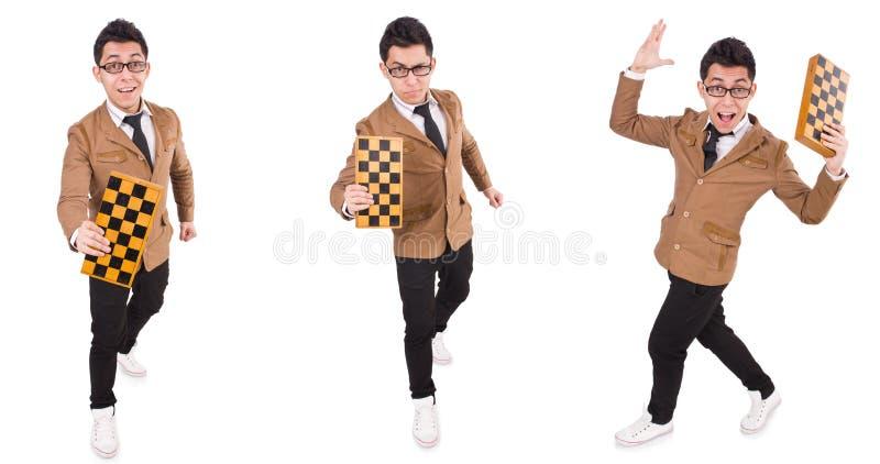Ο αστείος φορέας σκακιού που απομονώνεται στο λευκό στοκ εικόνα