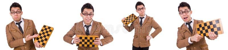 Ο αστείος φορέας σκακιού που απομονώνεται στο λευκό στοκ εικόνα με δικαίωμα ελεύθερης χρήσης
