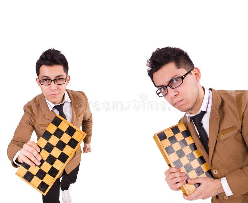 Ο αστείος φορέας σκακιού που απομονώνεται στο λευκό στοκ φωτογραφίες με δικαίωμα ελεύθερης χρήσης