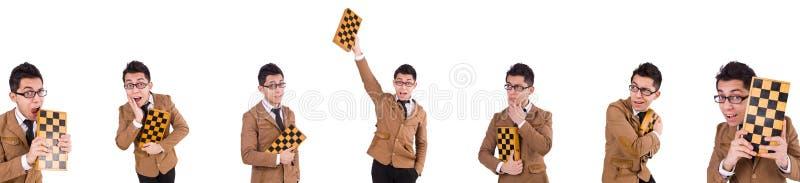 Ο αστείος φορέας σκακιού που απομονώνεται στο λευκό στοκ φωτογραφία