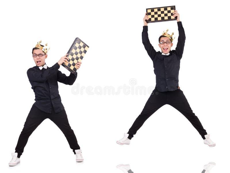 Ο αστείος φορέας σκακιού που απομονώνεται στο λευκό στοκ φωτογραφία με δικαίωμα ελεύθερης χρήσης