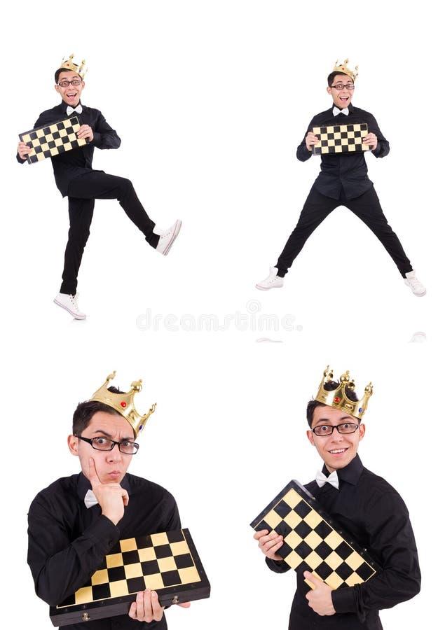Ο αστείος φορέας σκακιού που απομονώνεται στο λευκό στοκ εικόνες με δικαίωμα ελεύθερης χρήσης