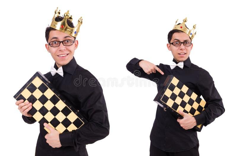 Ο αστείος φορέας σκακιού που απομονώνεται στο λευκό στοκ εικόνες