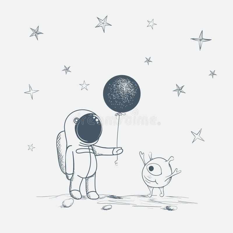 Ο αστροναύτης δίνει ένα μπαλόνι στον αλλοδαπό ελεύθερη απεικόνιση δικαιώματος