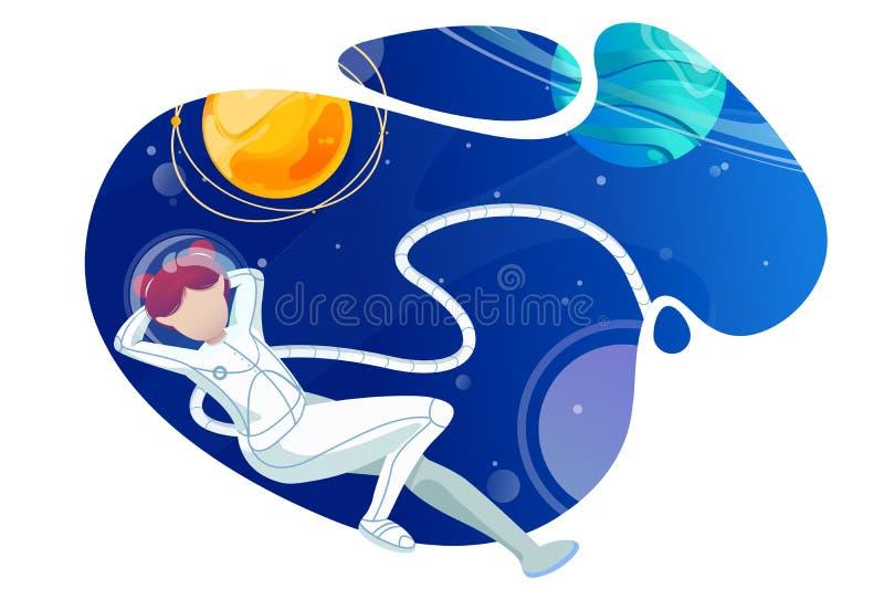 Ο αστροναύτης γυναικών χαλαρώνει στο διάστημα διανυσματική απεικόνιση