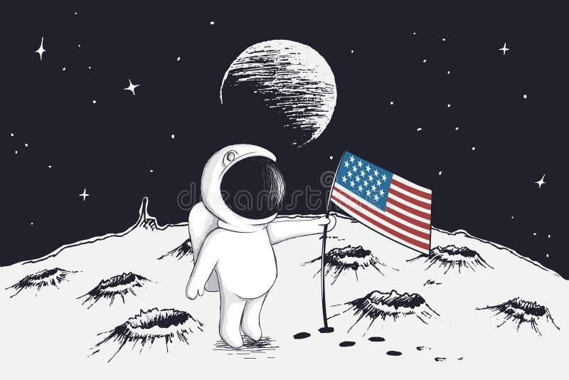 Ο αστροναύτης θέτει μια σημαία των ΗΠΑ στο φεγγάρι διανυσματική απεικόνιση