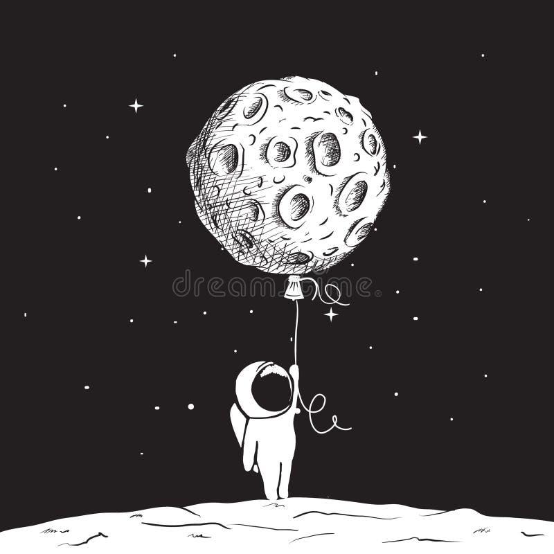Ο αστροναύτης διασκέδασης κρατά ένα φεγγάρι απεικόνιση αποθεμάτων