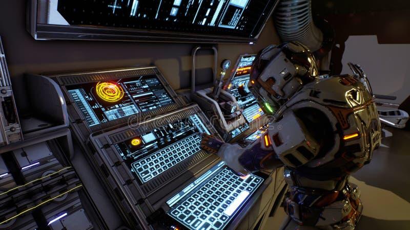 Ο αστροναύτης του μέλλοντος πιέζει τα πλήκτρα στην οθόνη sci-Fi Ρεαλιστικό υπόβαθρο κινήσεων τρισδιάστατη απόδοση διανυσματική απεικόνιση