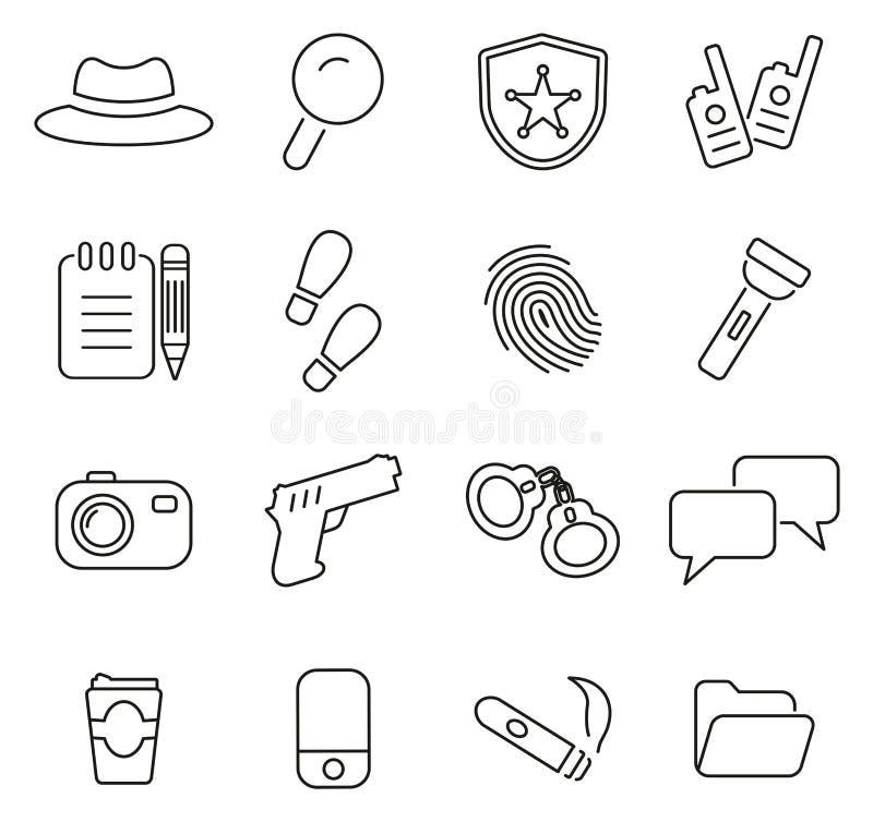 Ο αστυνομικός ή τα ιδιωτικά εικονίδια ανακριτών λεπταίνει το διανυσματικό σύνολο απεικόνισης γραμμών απεικόνιση αποθεμάτων