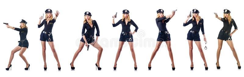 Ο αστυνομικός γυναικών που απομονώνεται στο λευκό στοκ εικόνες