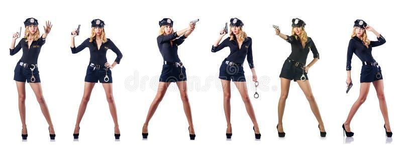Ο αστυνομικός γυναικών στο λευκό στοκ εικόνες