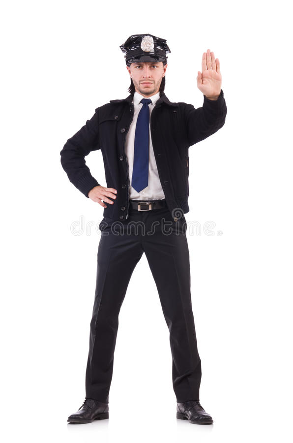 Ο αστυνομικός που απομονώνεται στο λευκό στοκ φωτογραφίες