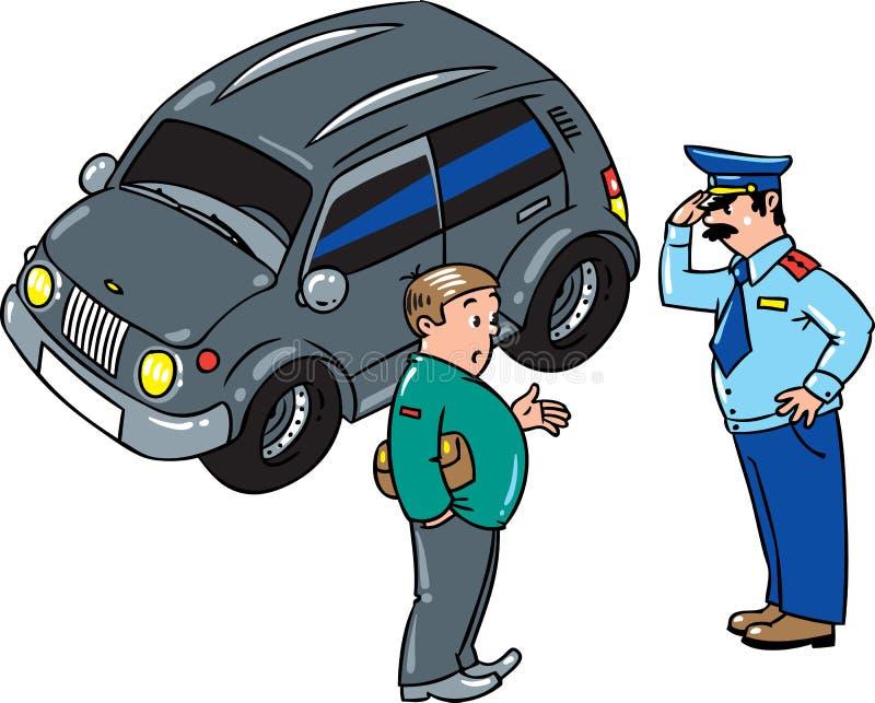 Ο αστυνομικός σταμάτησε το αυτοκίνητο, που μιλά με τον οδηγό ελεύθερη απεικόνιση δικαιώματος
