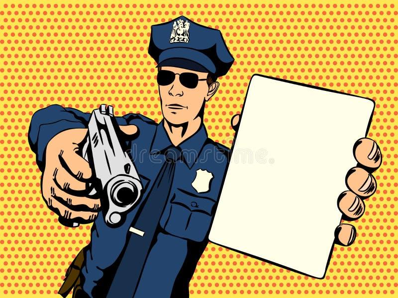 Ο αστυνομικός σταματά ένα έγκλημα απεικόνιση αποθεμάτων