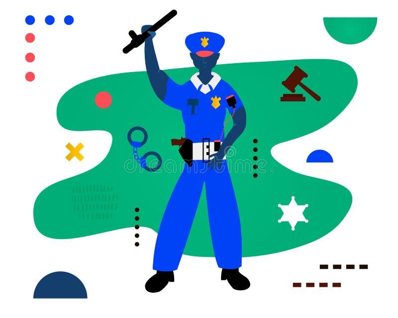 Ο αστυνομικός Σχέδιο χαρακτήρα αστυνομικών Δημιουργική διανυσματική απεικόνιση που γίνεται στην αφηρημένη σύνθεση ελεύθερη απεικόνιση δικαιώματος